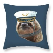 Sloth Monacle Captain Hat Sloths In Clothes Throw Pillow
