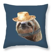 Sloth Monacle Straw Sloths In Clothes Throw Pillow