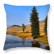 Slough Creek Afternoon Panrama Throw Pillow