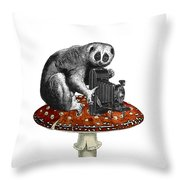 Slow Loris With Antique Camera Throw Pillow