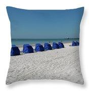 Slow Morging At The Beach Throw Pillow