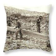 Sluice Box Placer Gold Mining C. 1889 Throw Pillow
