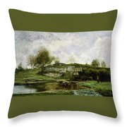 Sluice In The Optevoz Valley Throw Pillow