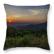 Skyline Drive National Park At Sunset Throw Pillow
