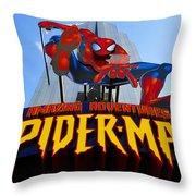 Spider Man Ride Sign.  Throw Pillow