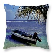 Small Boat Belize Throw Pillow