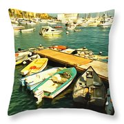 Small Boat Dock Catalina Island California Throw Pillow
