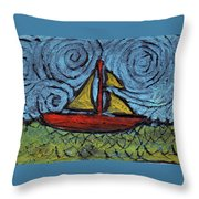 Small Boat With Yellow Sail Throw Pillow