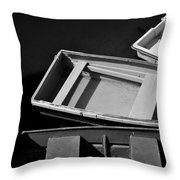 Small Boats At Dock Throw Pillow