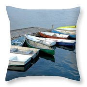 Small Boats Docked To A Pier Throw Pillow
