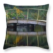 Small Bridge In Double Flowered Throw Pillow
