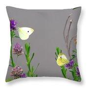 Small Butterflies Sipping Flower Nectar Throw Pillow