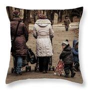 Small Child Looking Backward Throw Pillow