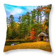 Small Covered Bridge Throw Pillow