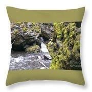 Small Falls At Boulder Cave Throw Pillow