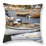 Small Fishing Boats Throw Pillow