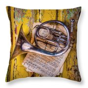 Small French Horn Throw Pillow