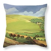 Small Green Valley Throw Pillow