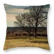 Small Herd In Winter Throw Pillow