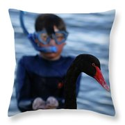 Small Human Meets Black Swan Throw Pillow