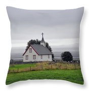 Small Icelandic Church With Gray Roof Throw Pillow