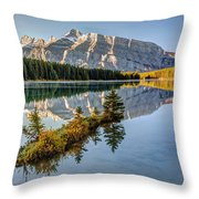Small Island At Two Jack Lake Throw Pillow