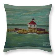 Small Island Lighthouse Throw Pillow