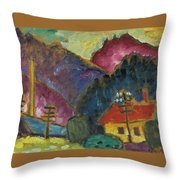 Small Landscape With Telegraph Throw Pillow
