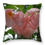 Small Orange Flower Pink Heart Leaves Throw Pillow