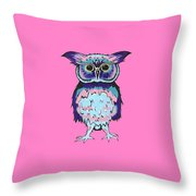 Small Owl Pink Throw Pillow