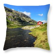 Small Red Cabin In Norway Throw Pillow