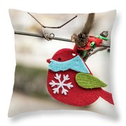 Small Red Handicraft Bird Hanging On A Wire Throw Pillow