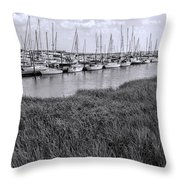 Small Sailboat Harbor Monochrome  Throw Pillow