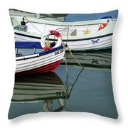 Small Skiffs - Lyme Regis Harbour Throw Pillow