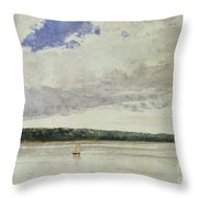 Small Sloop On Saco Bay Throw Pillow