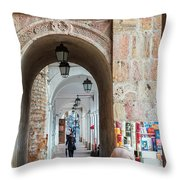 Small Stall In Cuenca Ecuador Throw Pillow