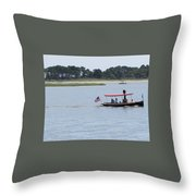 Small Stream Boat Throw Pillow