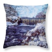 Small Stream, Snowy Scene And Waterfalls. Throw Pillow