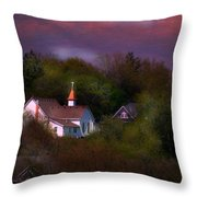 Small Town Church Throw Pillow