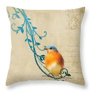 Small Vintage Bluebird With Leaves Throw Pillow