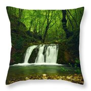 Small Waterfall In Forest Throw Pillow