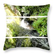 Small Waterfall Smoky Mountains Triptych Throw Pillow