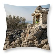 Small White Chapel And A Metal Cross On A Stone Wall Near Cres Throw Pillow