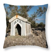 Small White Chapel On A Stone Wall Near Cres Throw Pillow