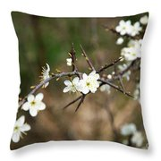 Small White Flowers Of Thorns Throw Pillow