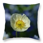 Small White Poppy Throw Pillow