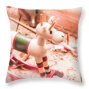 Small Xmas Reindeer On Wood Shavings In Workshop Throw Pillow