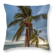 Smathers Beach Coconut Sunset Throw Pillow