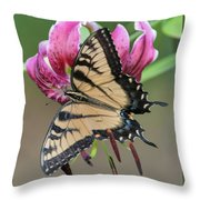 Smelling The Asiatic Lilies Throw Pillow