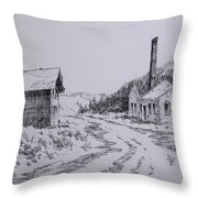 Smelter Ruins Glendale Ghost Town Montana Throw Pillow